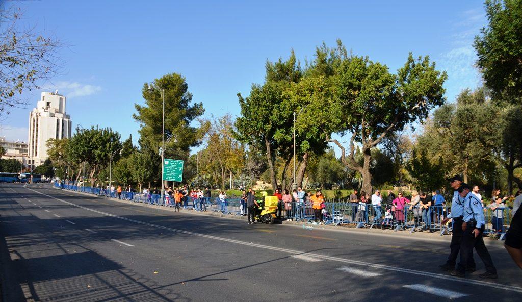 Liberty Bell park scene of Jerusalem Israel Hanukkah parade