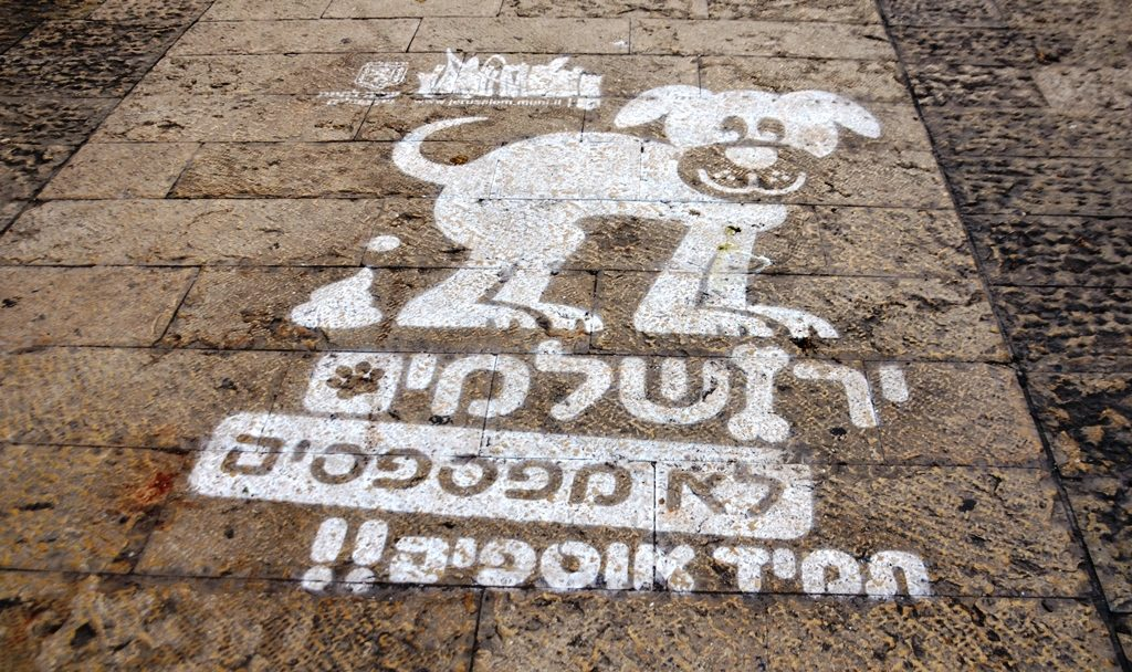 Hebrew sign on sidewalk to clean up after dog