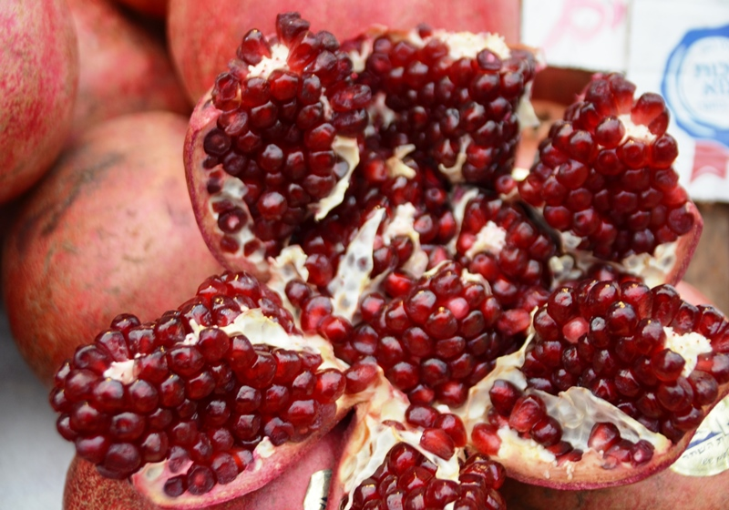 Pomegranate open in Jerusalem market