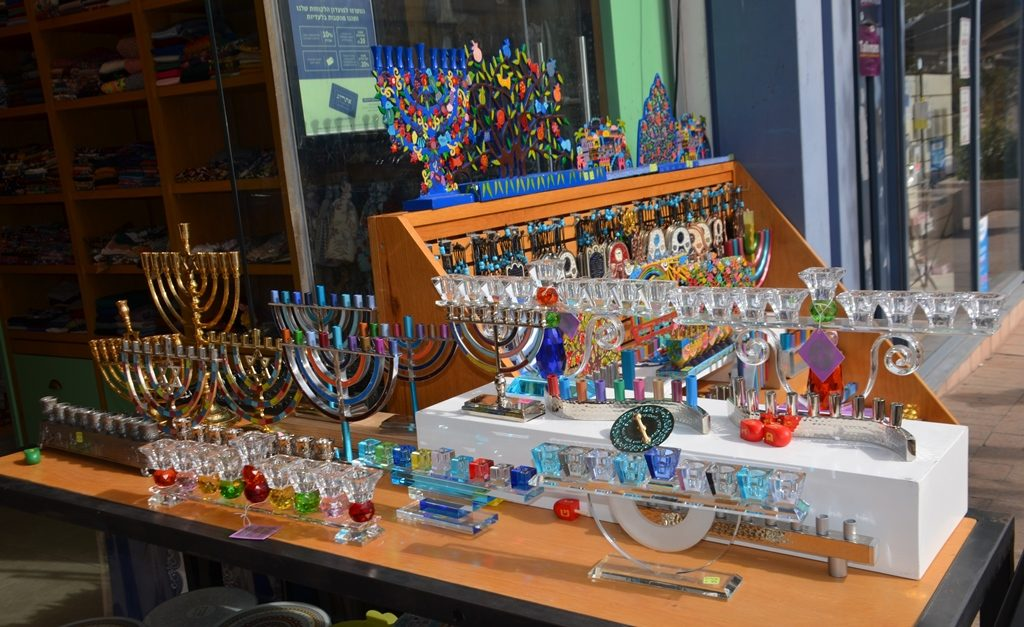 Jerusalem street Hanukkah menorahs for sale