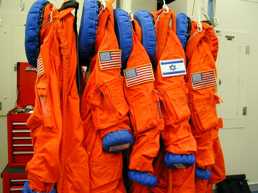 Uniforms from members of Ramon Flight crew