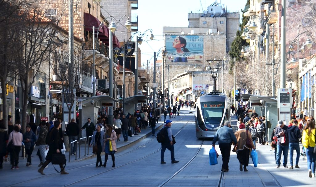 Jerusalem Light rail on Jaffa Road near King George Street