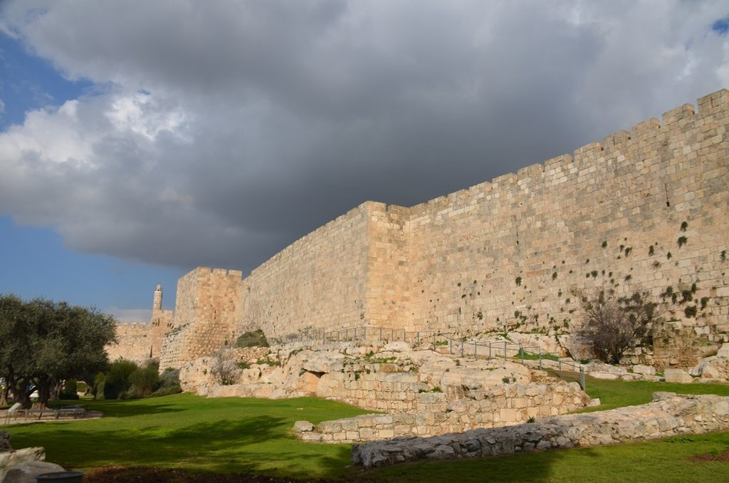 Walls of Old City grey sky Jerusalem Israel