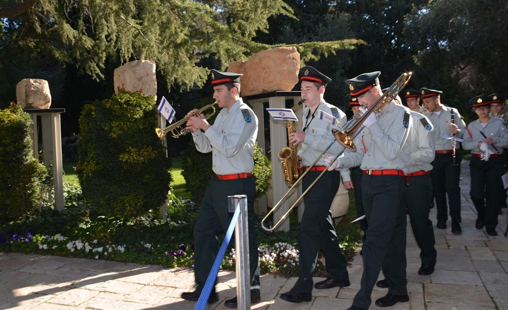 Band members on way to position for President of Austria at Beit Hanasi
