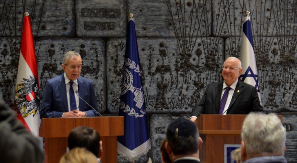 Presidents of Israel and Austria in Beit Hanasi in Jerusalem Israel