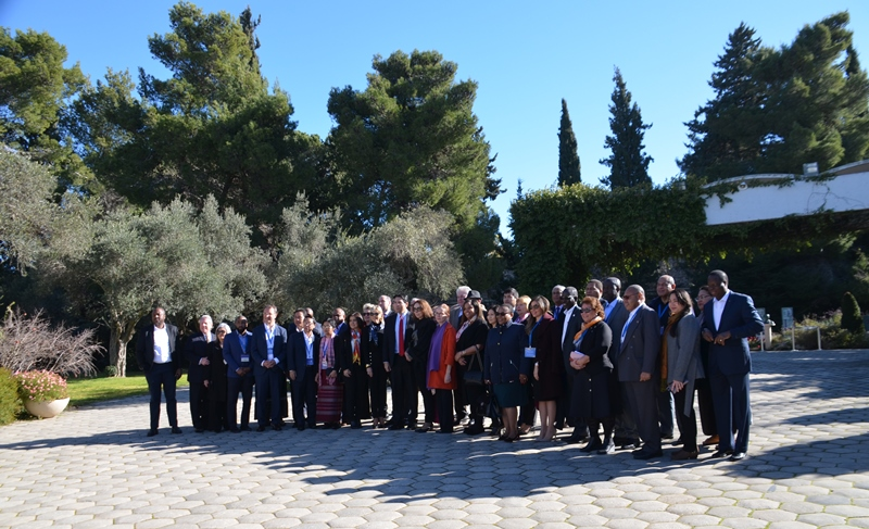 Beit Hanasi garden in Jerusalem Israel photo with visiting UN Ambassadors