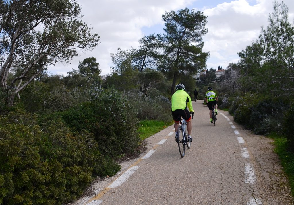 GFNY bikers in Jerusalem Israel practice ride before May 3 race