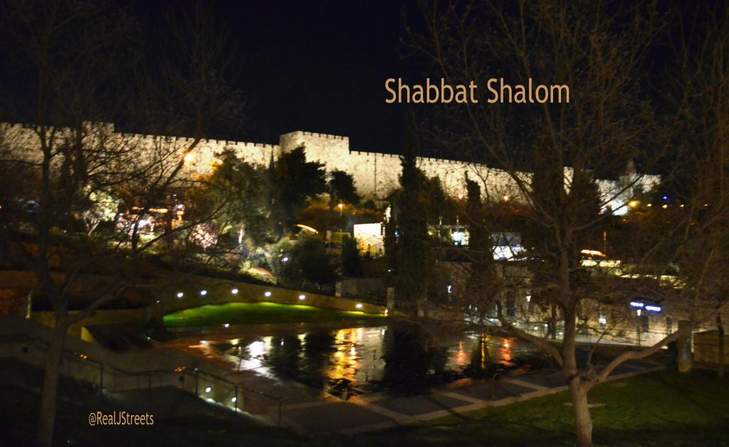 View from Teddy Park of lights on Jerusalem Israel Old City Walls at night for Shabbat shalom post