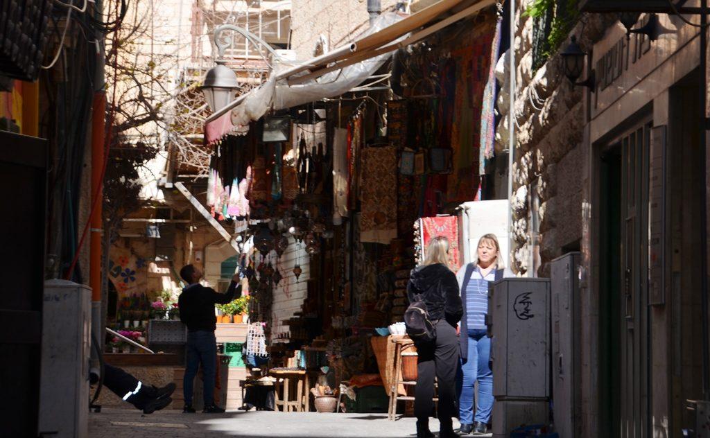 Jerusalem Israel morning street scene off Ben Yehuda