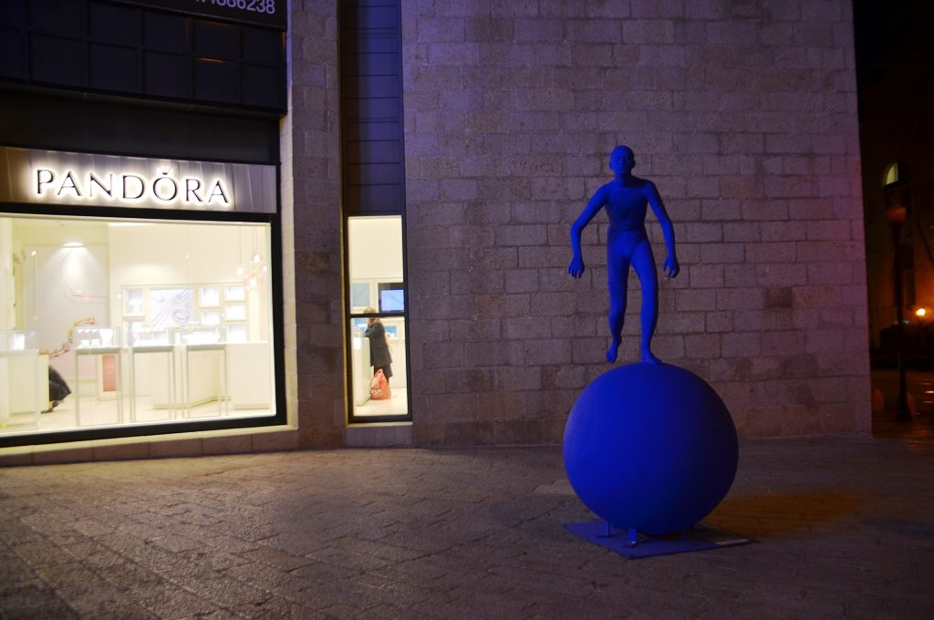 Mamilla mall art blue man on ball