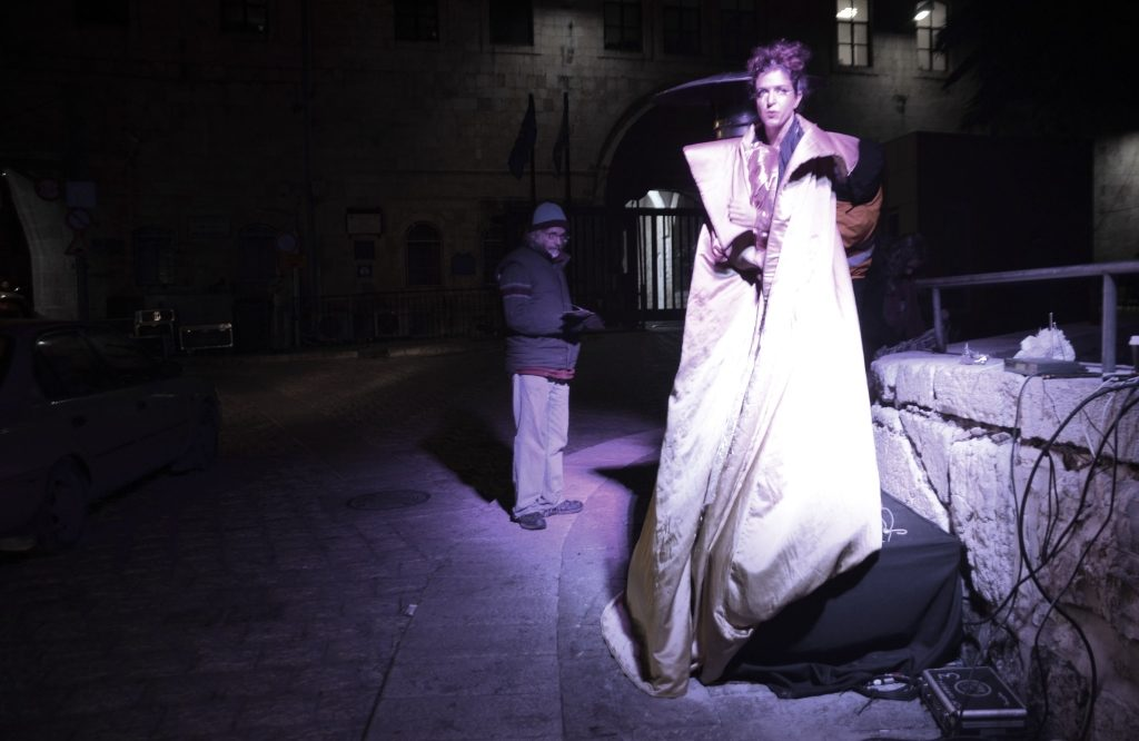 Woman performer at Shaon Horef Winter Noise Jerusalem street festival