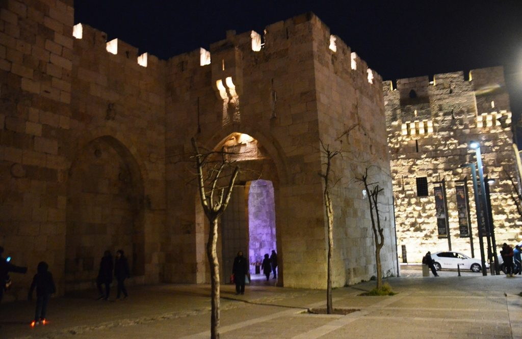 Scene near Jaffa Gate at night