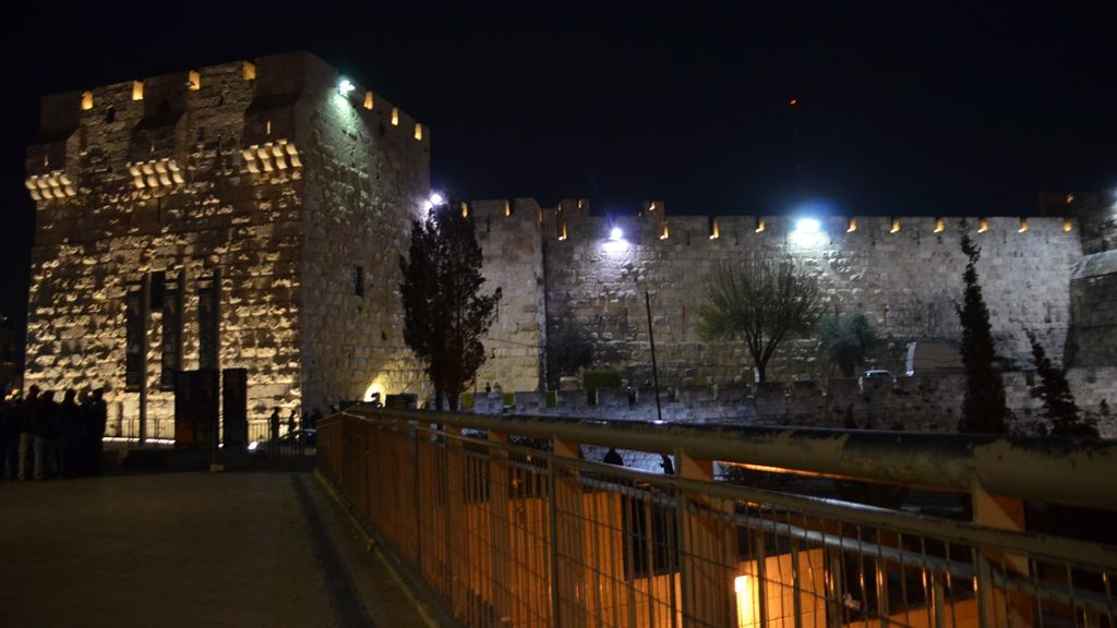 Jerusalem Israel old city walls at night