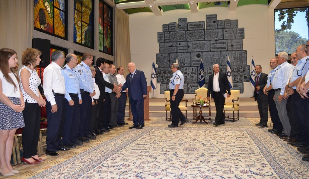President Reuven Rivlin greets Arab security and police at President's Residence