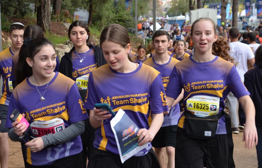 Shalva teen runners in 10 K race Jerusalem marathon
