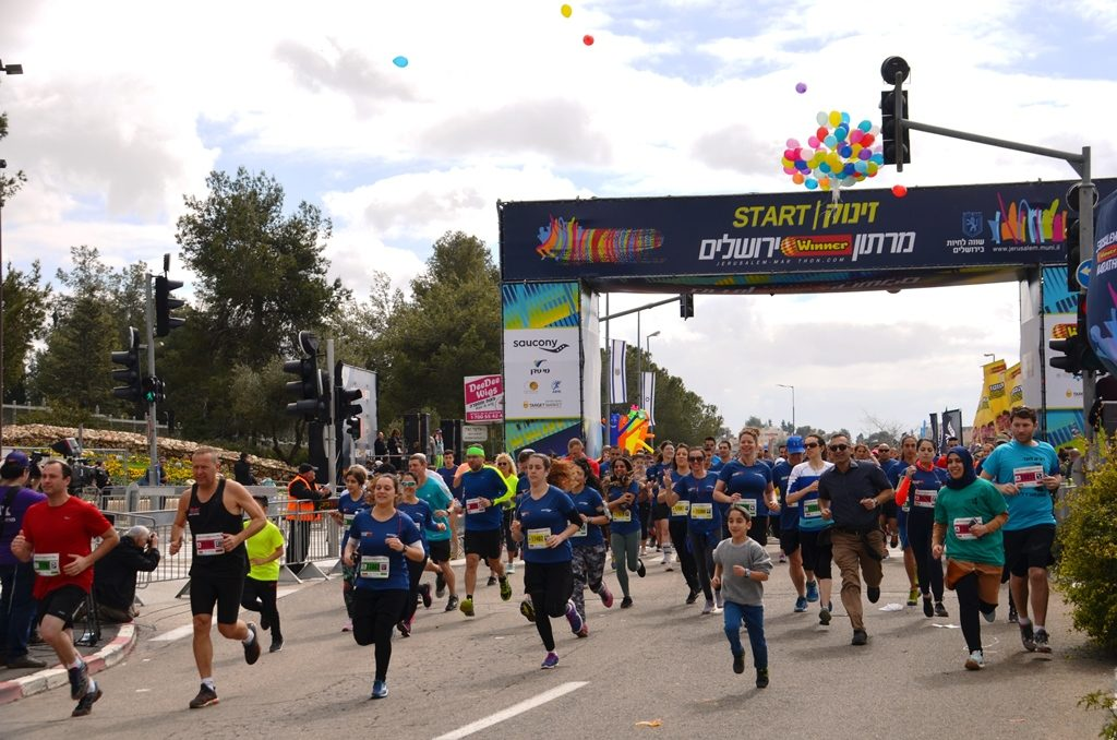 Start of 10K race of Jerusalem marathon