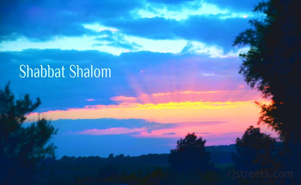View of sunset used for Shabbat shalom poster