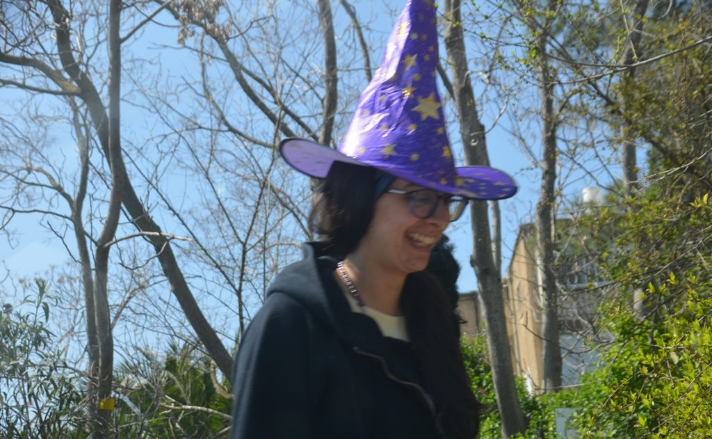 Woman in hat for Purim in Jerusalem