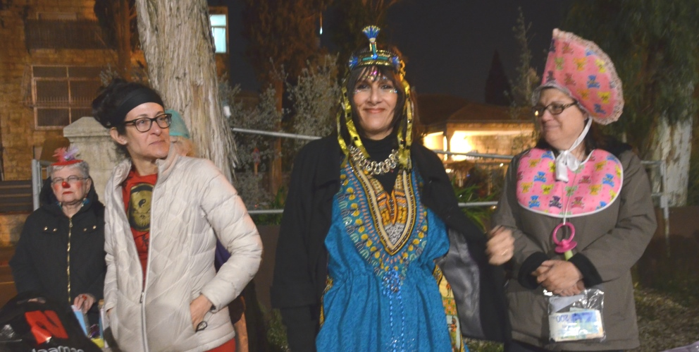 Purim costume in Jerusalem at night at carnival party.