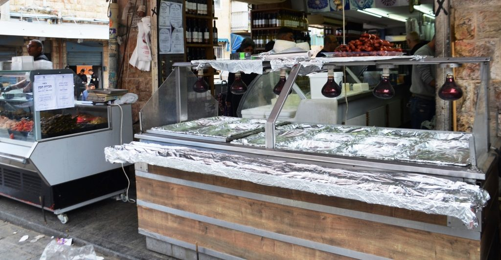 For Passover in shuk covered with foil for holiday food
