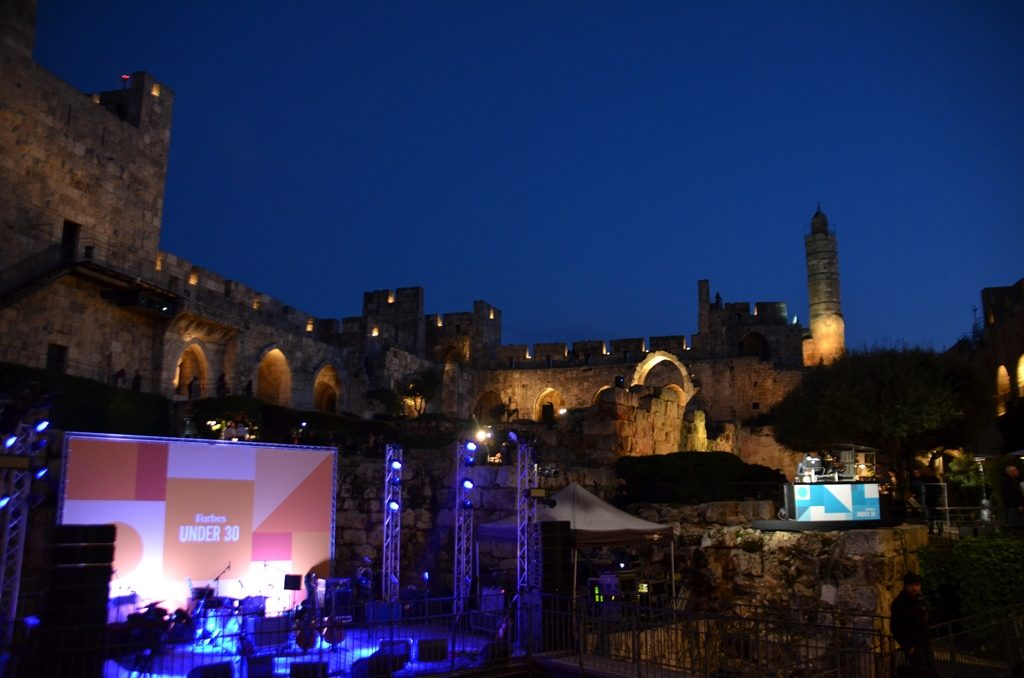 Tower of David at night for Forbes under 30 event music and fashion show