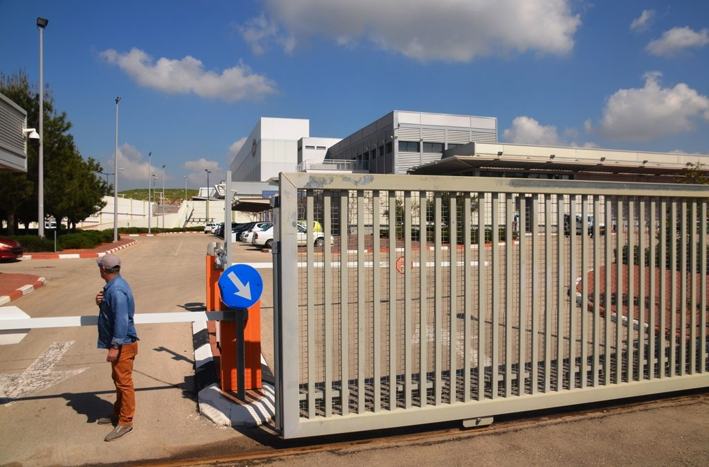 Security gate at election committee logistics center