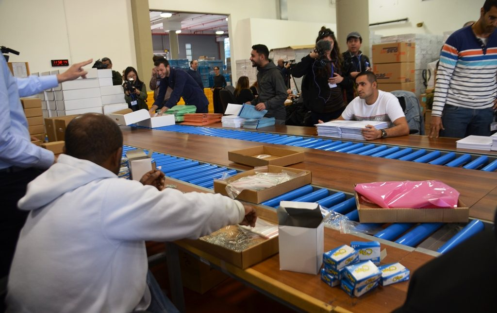 Israeli election logistic center workers