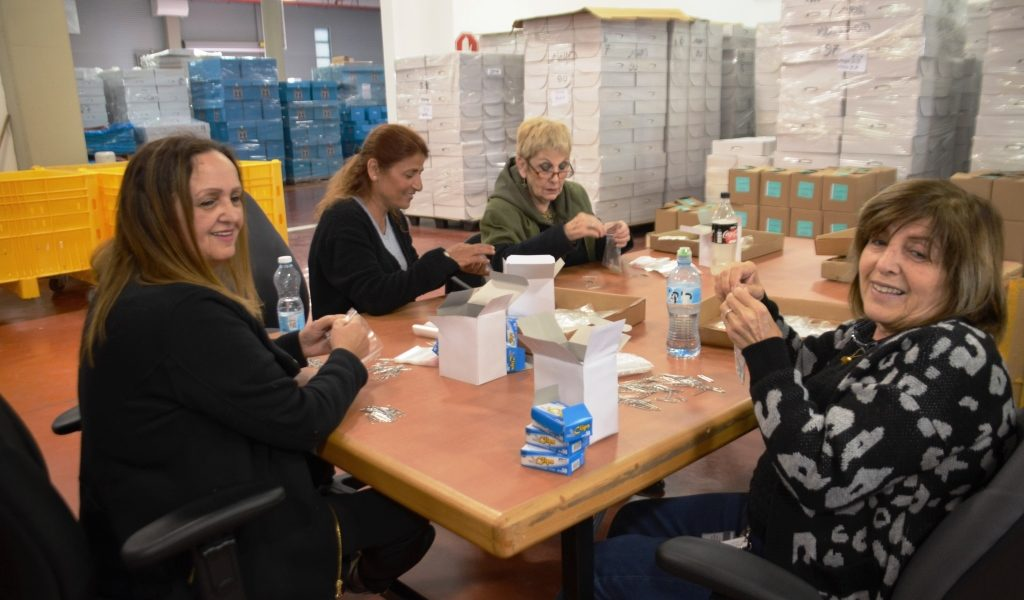 Counting paper clips at logistic center Israel elections.