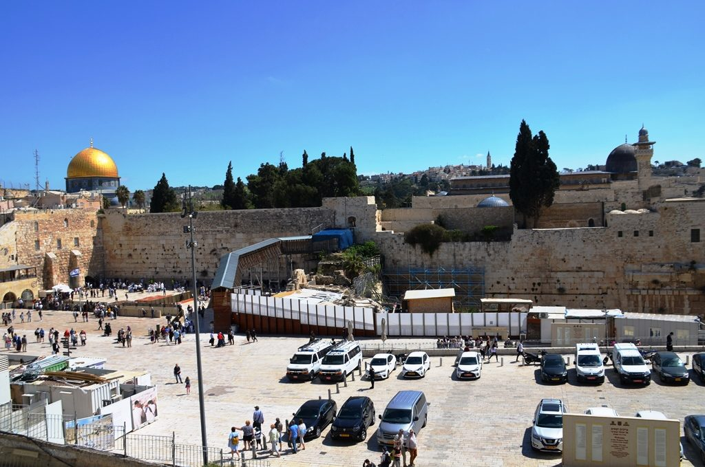 View from steps of Jewish Quarter of Jerusalem Israel Old City