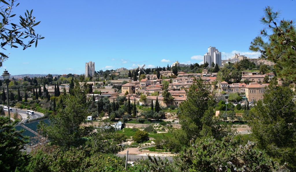 Near Zion Gate view of Yemin Moshe Jerusalem Israel
