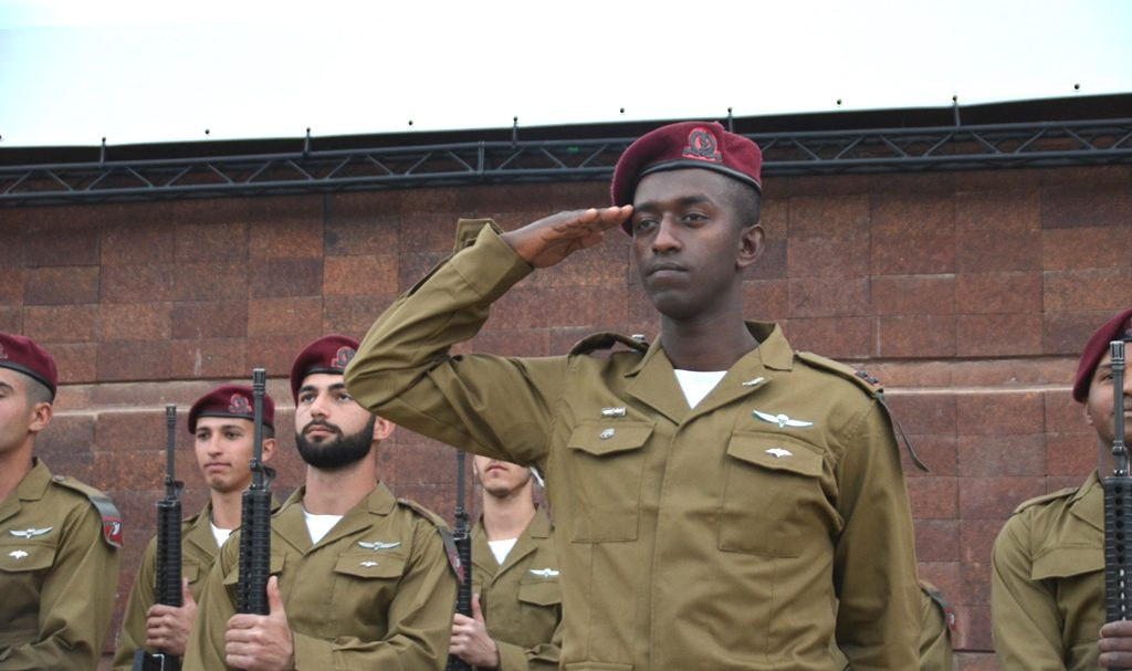 Honor guard at Holocaust Remembrance Day opening ceremony at Yad Vashem