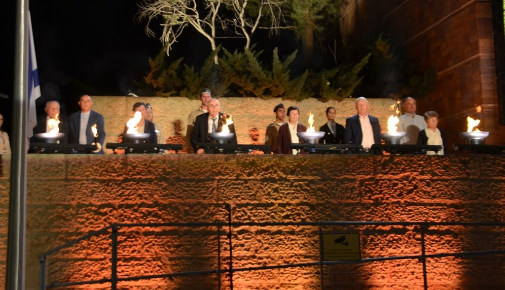 Six torches lit by survivors at Yad Vashem for Yom Hashoah