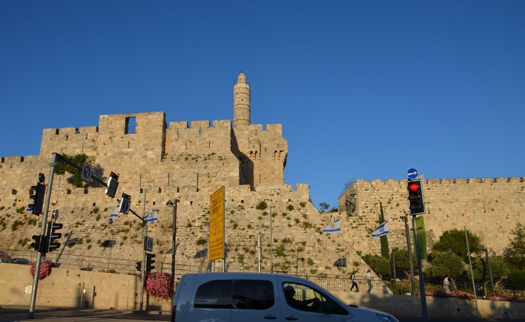 View of Tower of David in Jerusalem Israel from across the street near Teddy Park