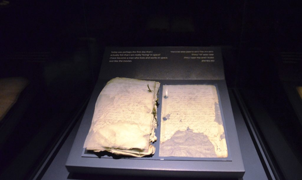 Dairy of Ilan Rimon on display at Israel Museum