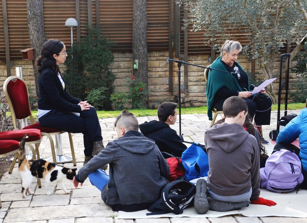 Children in Beit Hanasi garden for Tu Bishvat and Nechama Rivlin reading