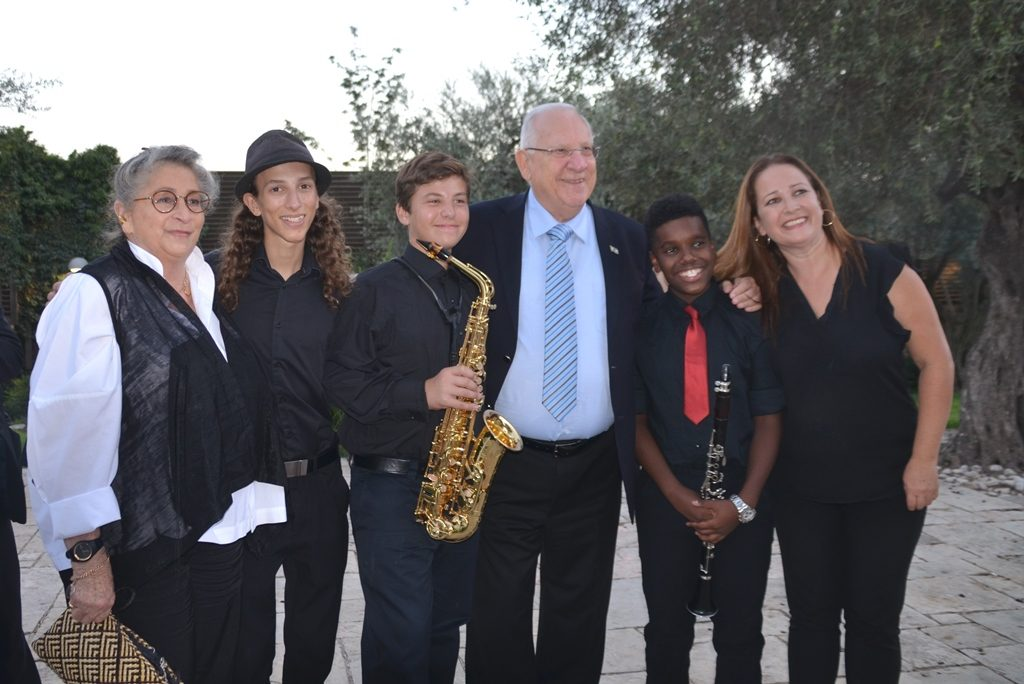 Young Musicians with President and Nechama Rivlin at Beit Hanasi