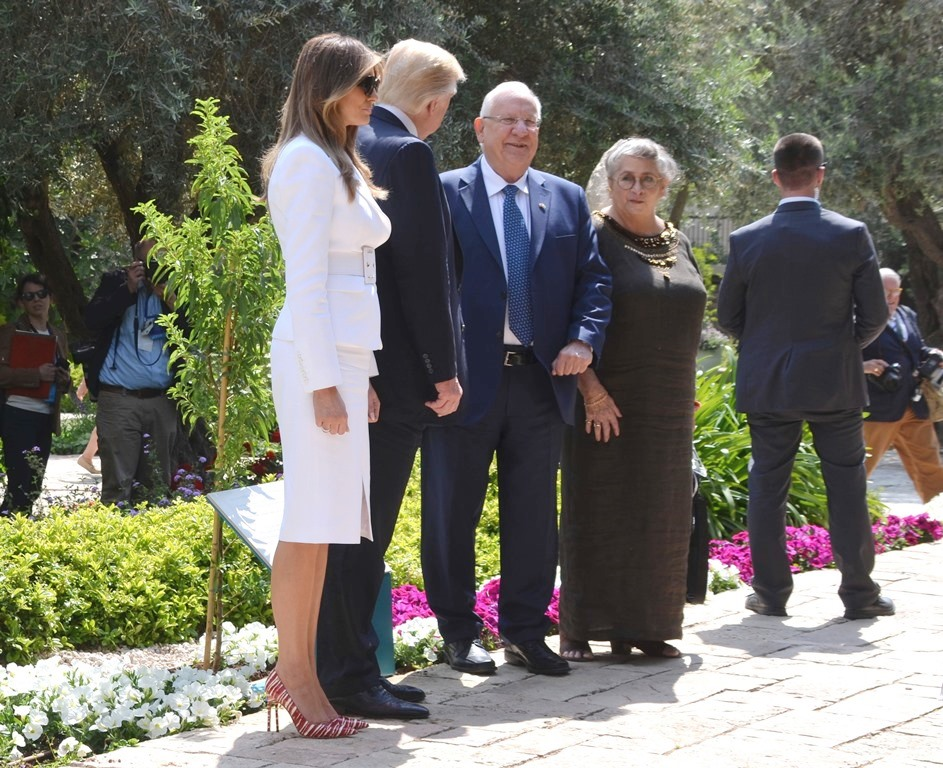 Rivlins in Garden at Beith Hanasi during Trump visit to Jerusalem