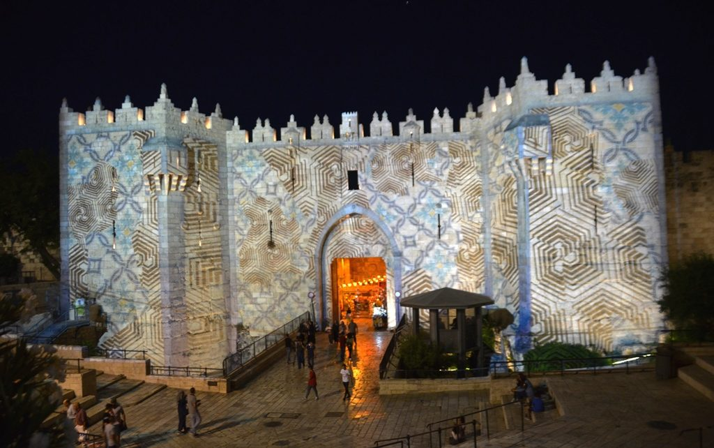 Jerusalem lights on Damascus Gate