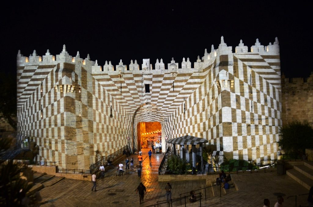 Jerusalem light festival at Damascus Gate
