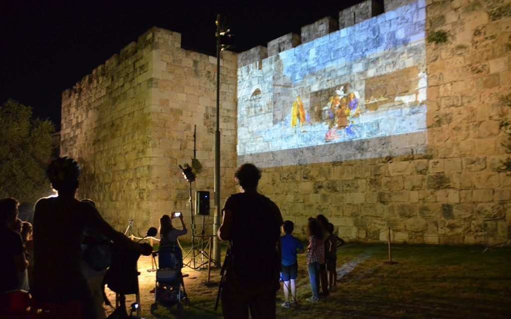Light festival in Jerusalem old city walls