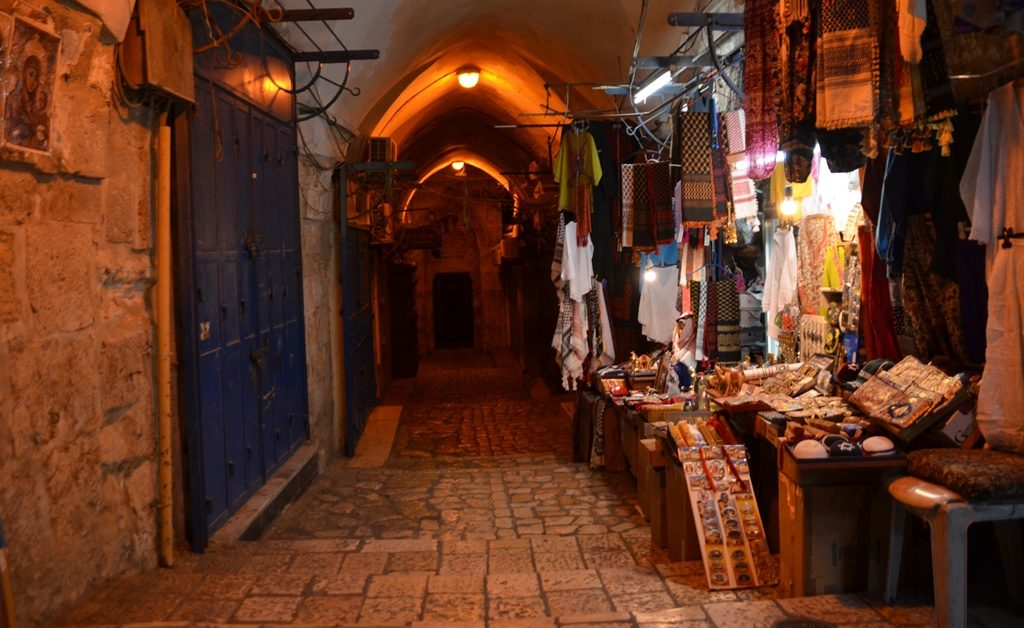 Arab market in old city Jerusalem for light festival