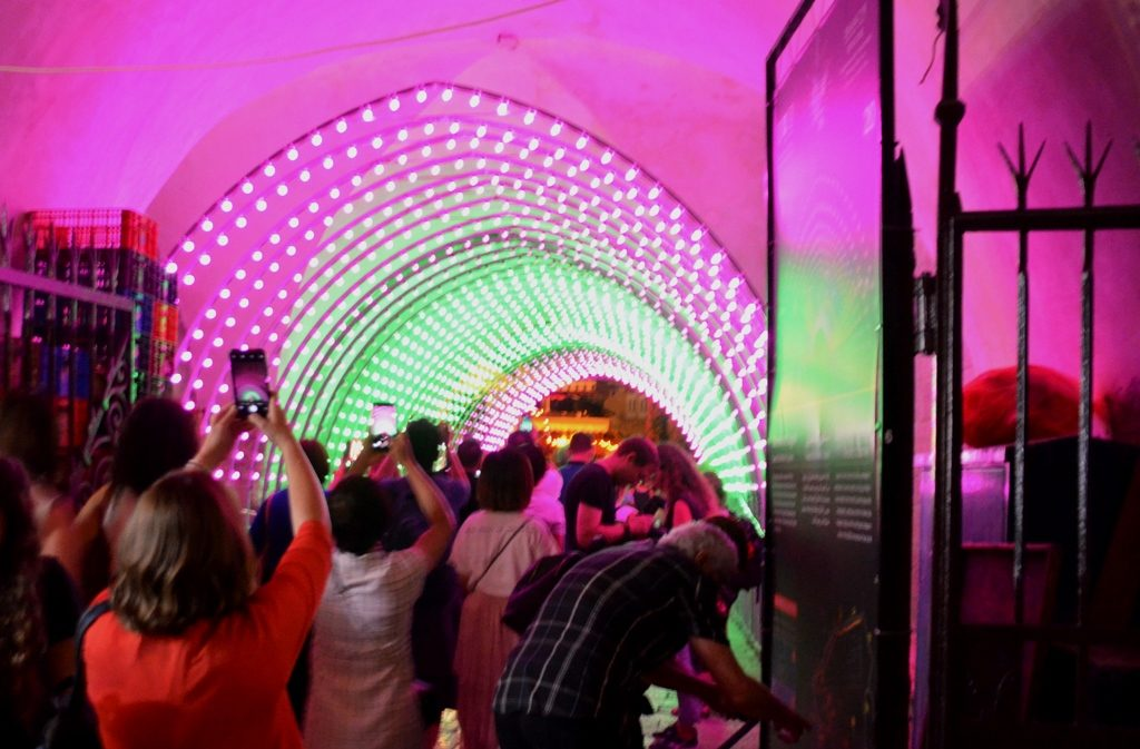 Jerusalem light festival light tunnel and photographers