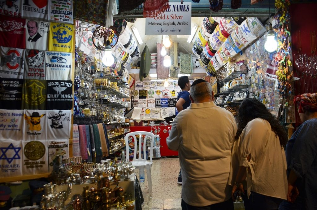 Jerusalem light festival shops in Arab shuk open at night