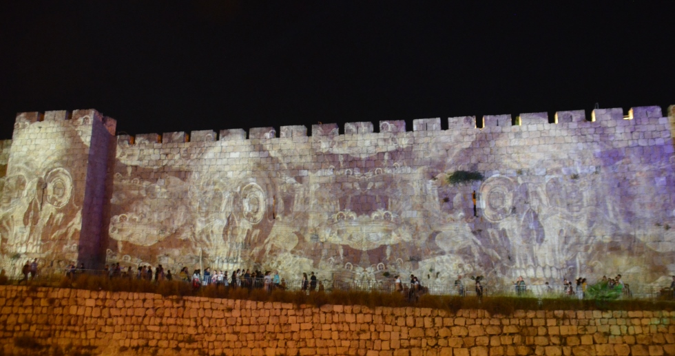 Jerusalem light festival wall near Jaffa Gate