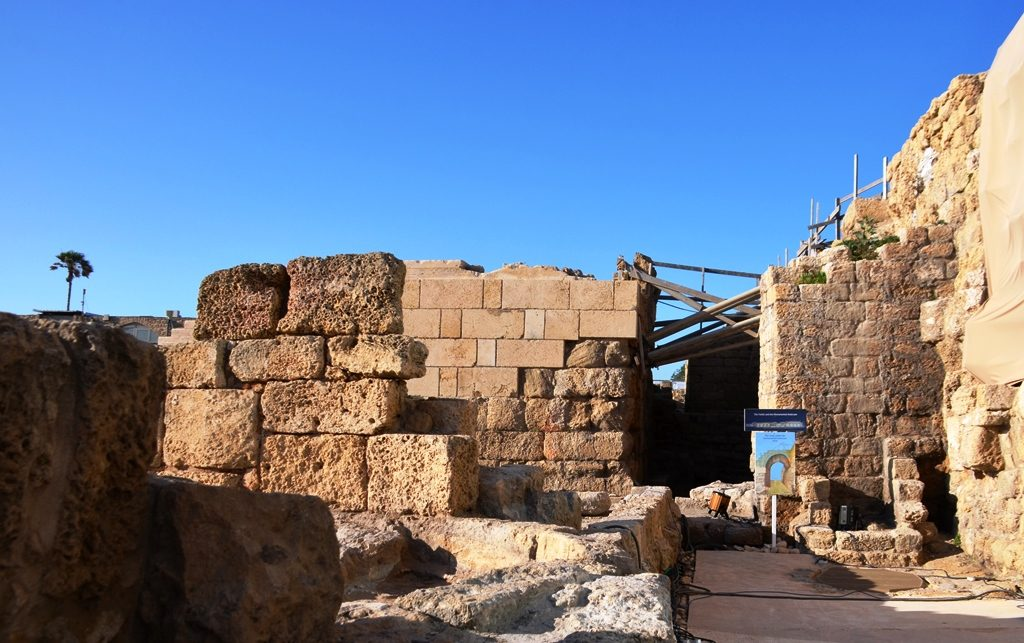 Roman bath house excavation in Caesarea