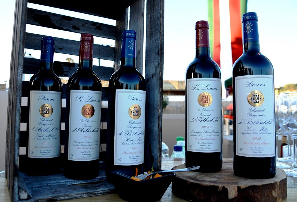 Bottles of wine at event to launch Caesarea visitor center