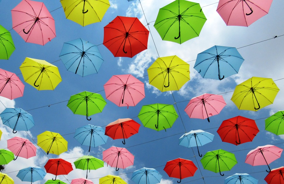 Colorful umbrellas over Kikar HaMusica