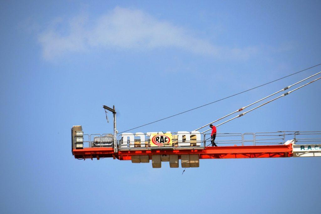 Jerusalem man on crane