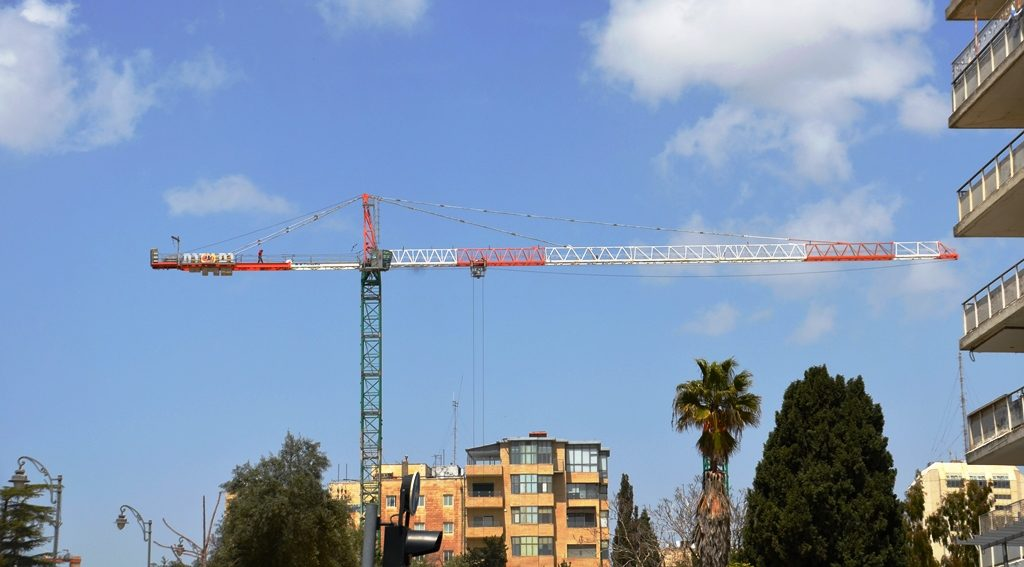 Building crane in Jerusalem Israel