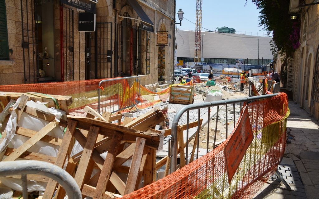 Jerusalem street repair on Yoel Salomon Street